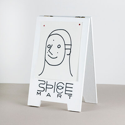 Sandwich board sculpture for SpiceMart, a series of small sculptures from artist and designer Chris von Szombathy