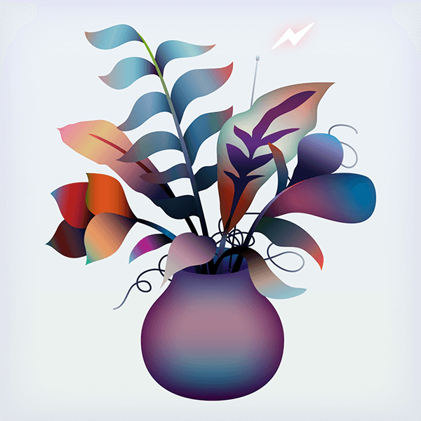 An Illustration by artist and designer Chris von Szombathy. Title: Remote Control Flowers, 01. Work from 2015–2017
