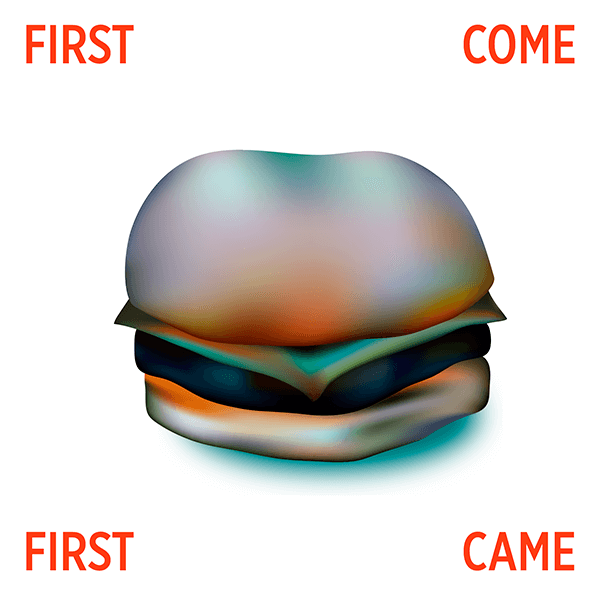 An Illustration by artist and designer Chris von Szombathy. Title: First Come, First Came. Work from 2015–2017