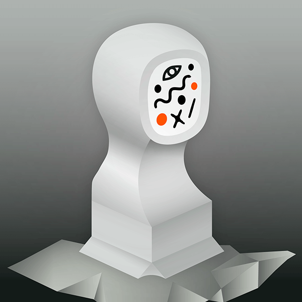 An Illustration by artist and designer Chris von Szombathy. Title: Bust. Work from 2015–2017