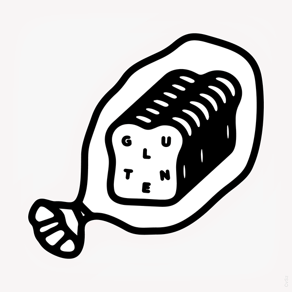 An Illustration by artist and designer Chris von Szombathy. Title: Gluten. Work from 2015–2017