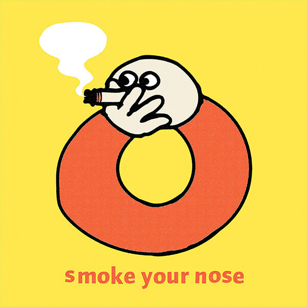 An Illustration by artist and designer Chris von Szombathy. Title: Smoke Your Nose. Work from 2010–2015
