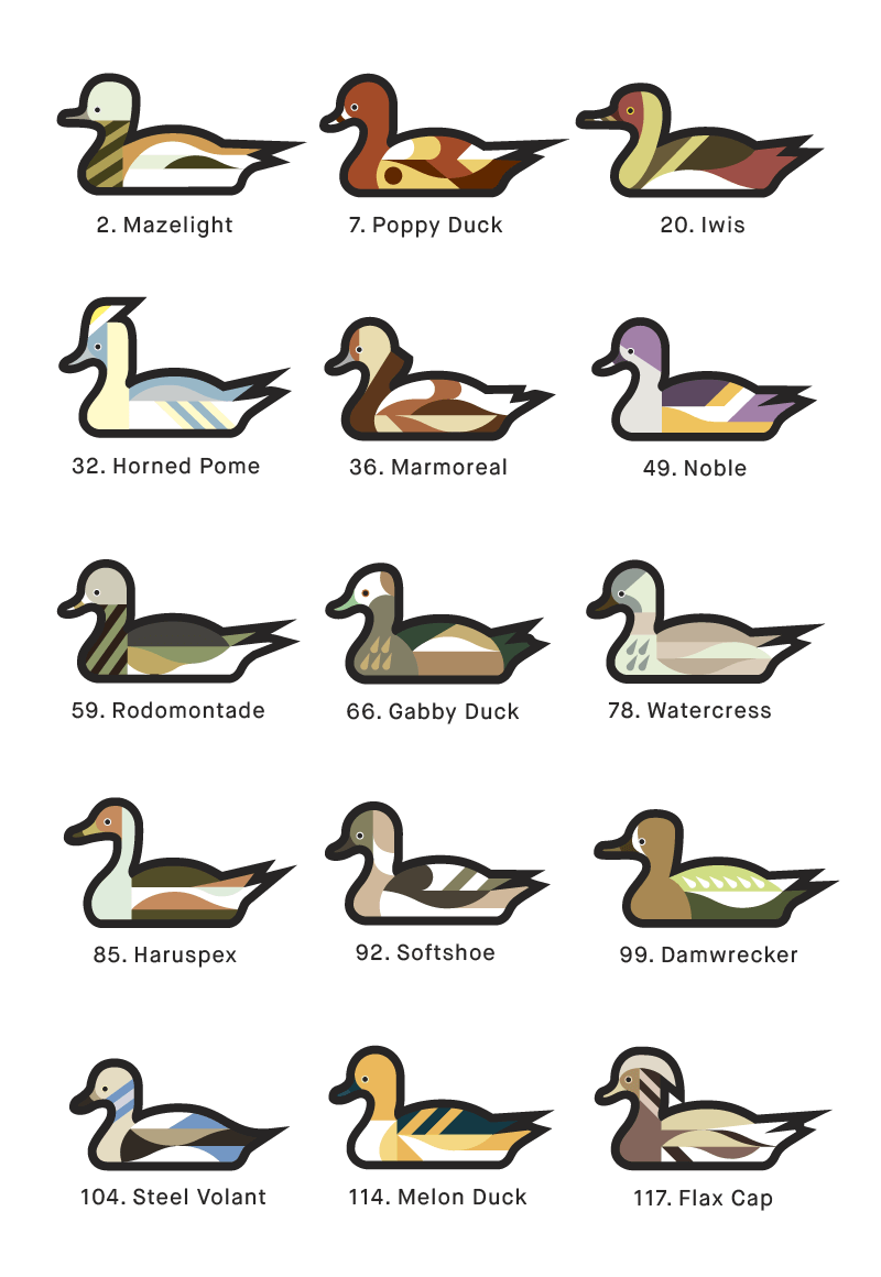 A page from 1000 Ducks, a graphic catalogue of imaginary duck species by artist and designer Chris von Szombathy. 01