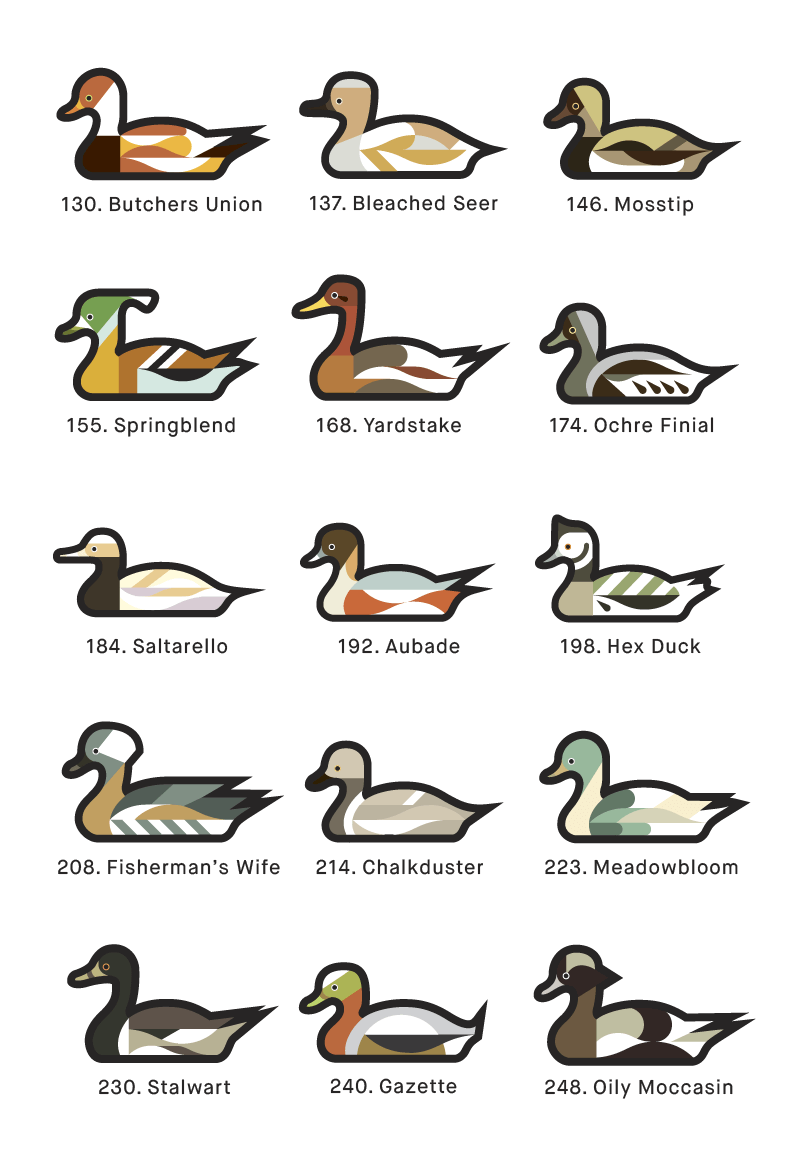 A page from 1000 Ducks, a graphic catalogue of imaginary duck species by artist and designer Chris von Szombathy. 03