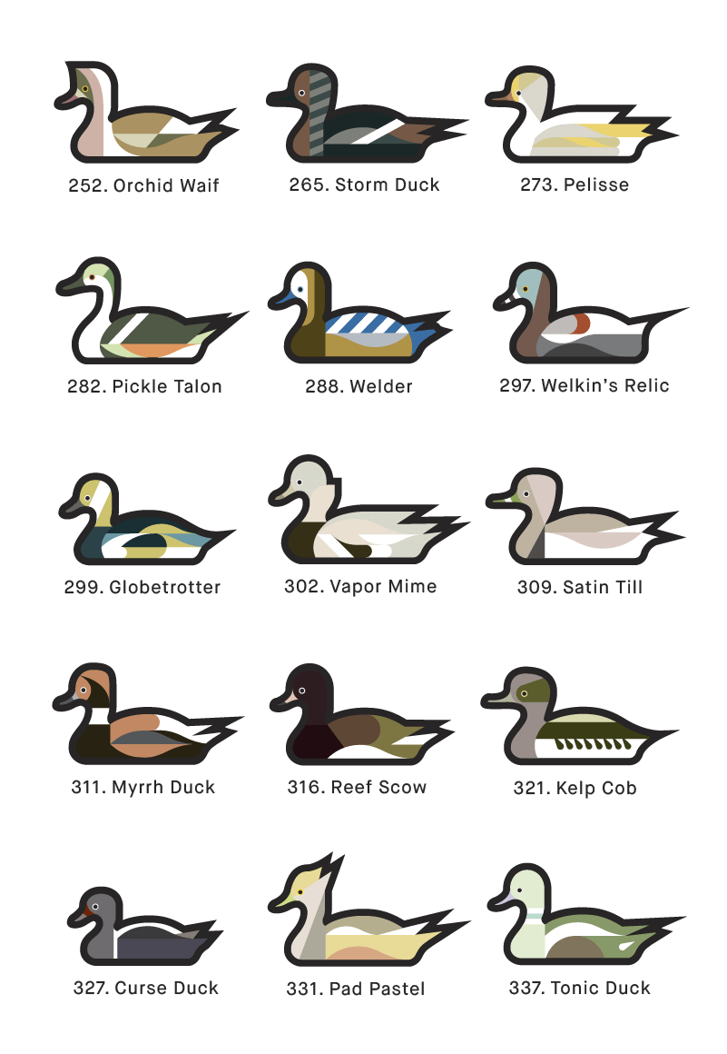 A page from 1000 Ducks, a graphic catalogue of imaginary duck species by artist and designer Chris von Szombathy. 02
