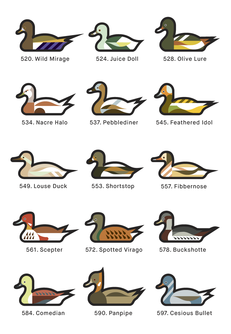 A page from 1000 Ducks, a graphic catalogue of imaginary duck species by artist and designer Chris von Szombathy. 06