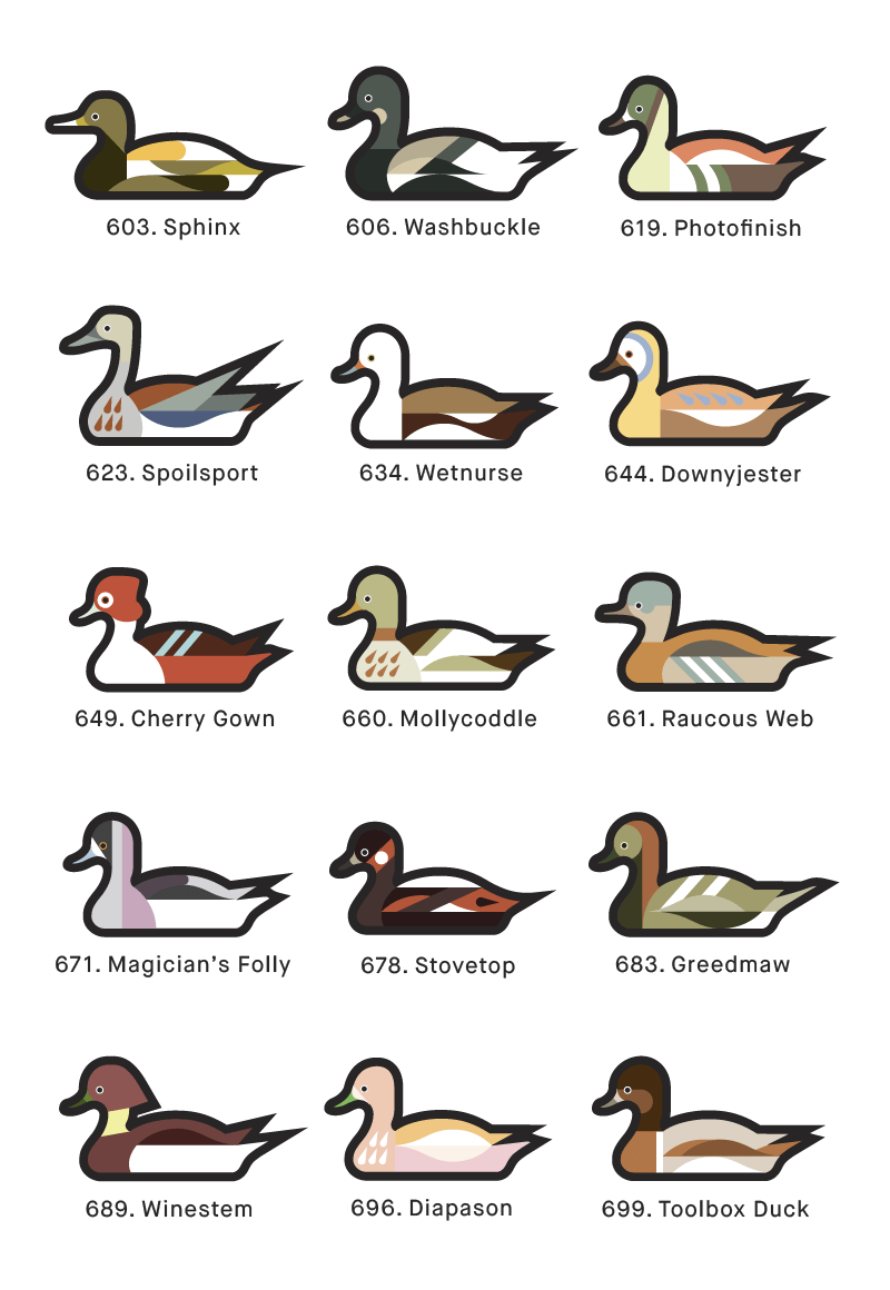 A page from 1000 Ducks, a graphic catalogue of imaginary duck species by artist and designer Chris von Szombathy. 05