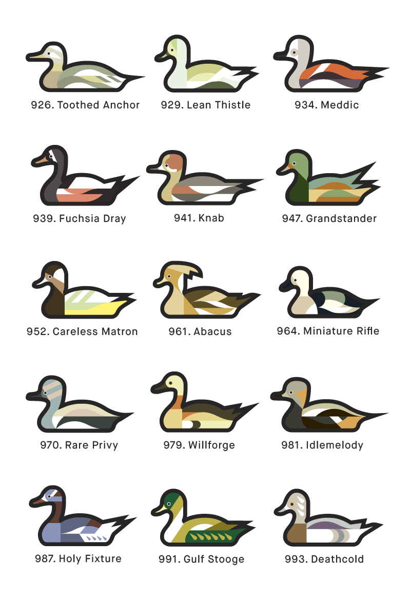A page from 1000 Ducks, a graphic catalogue of imaginary duck species by artist and designer Chris von Szombathy. 08