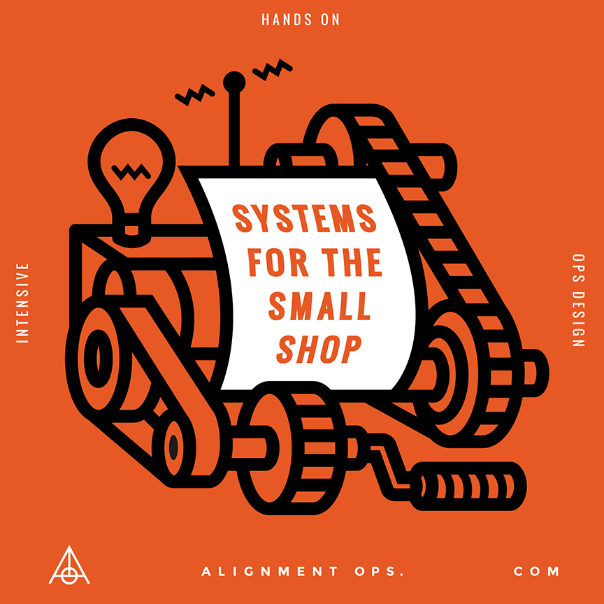 """Systems for the Small Shop"" illustration for Alignment Ops. Designed by Chris von Szombathy and produced by RXVP"